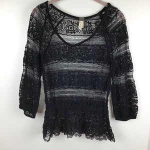We The Free | Free People Black Crochet Lace Top